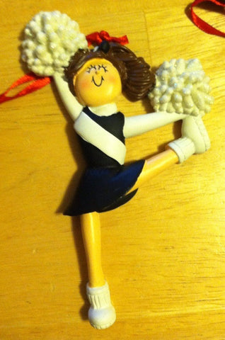 Cheerleader Glitter Pom Pom Personalized Christmas Ornament