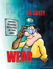 Eyes protection cartoon safety poster