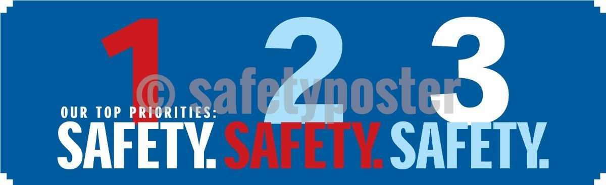 Our Top Priorities: 1 2 3 Safety - Banner Motivational Banners