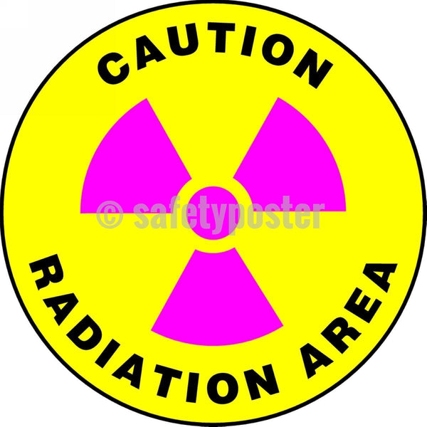 Caution Radiation Area - Floor Sign Adhesive Signs