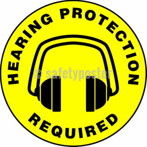 Hearing Protection Required - Floor Sign Adhesive Signs