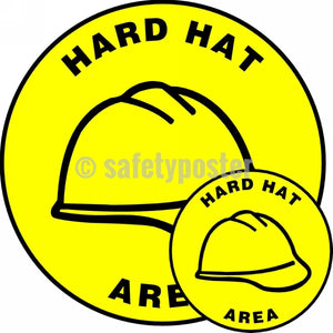Hard Hat Area - Floor Sign Adhesive Signs