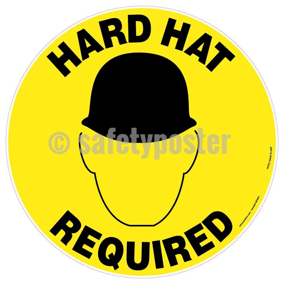 Hard Hat Required - Floor Sign Adhesive Signs