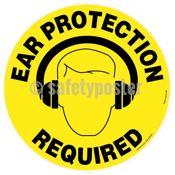 Ear Protection Required - Floor Sign Adhesive Signs