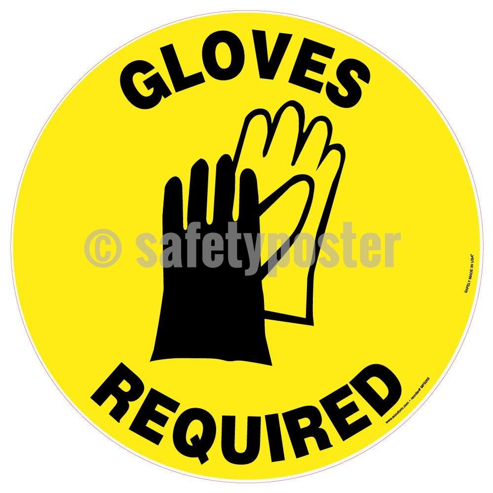 Gloves Required - Floor Sign Adhesive Signs