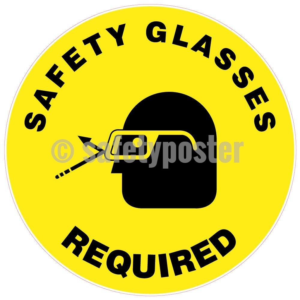 Safety Glasses Required - Floor Sign Adhesive Signs