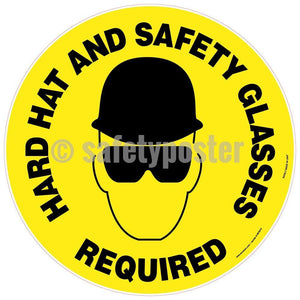 Hard Hat And Safety Glasses Required - Floor Sign Adhesive Signs