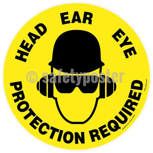 Head Ear Eye Protection Required - Floor Sign Adhesive Signs
