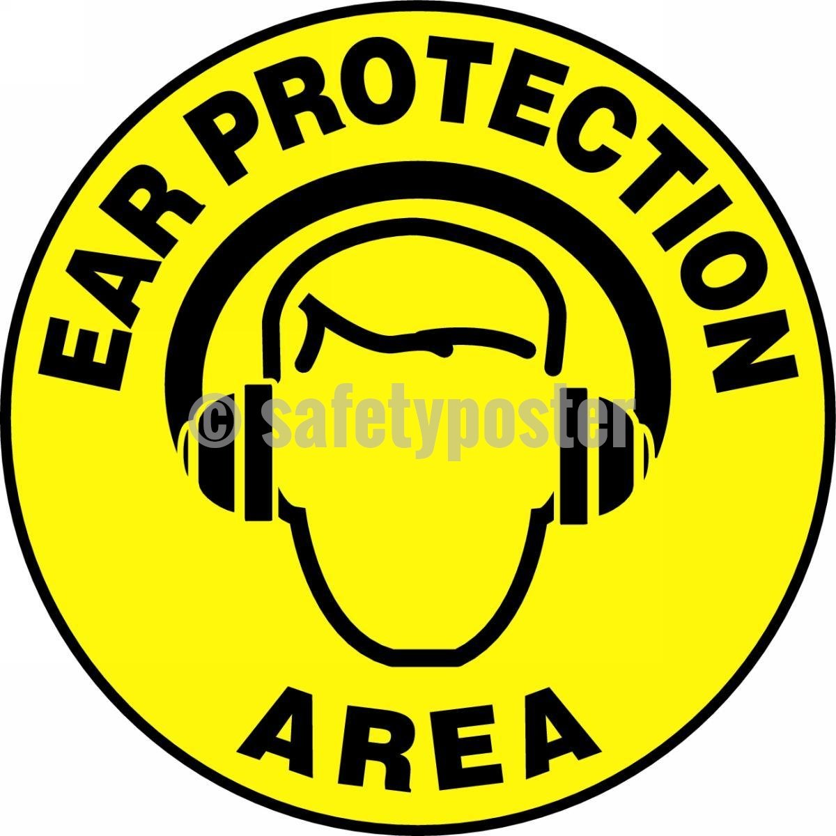 Ear Protection Area - Floor Sign Adhesive Signs