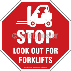 Stop Look Out For Forklifts - Floor Sign Adhesive Signs