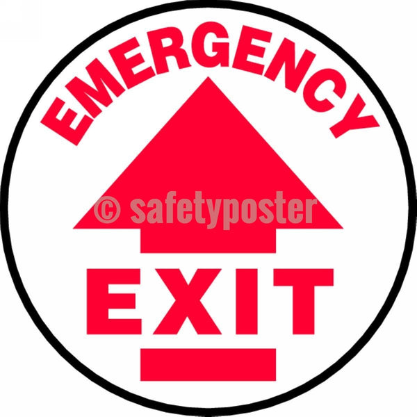 Emergency Exit - Floor Sign Adhesive Signs