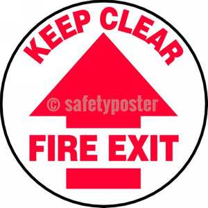Keep Clear Fire Exit - Floor Sign Adhesive Signs