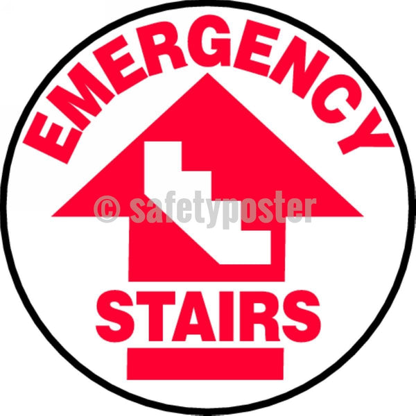 Emergency Stairs - Floor Sign Adhesive Signs