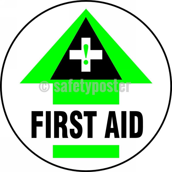 First Aid - Floor Sign Adhesive Signs
