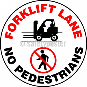 Forklift Lane No Pedestrians - Floor Sign Adhesive Signs