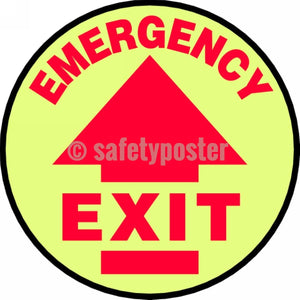 Emergency Exit - Glow Floor Sign Adhesive Signs