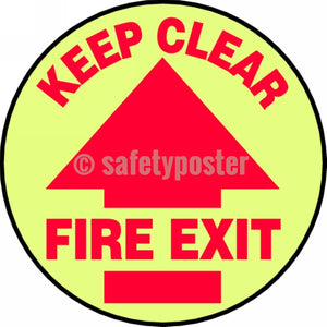 Keep Clear Fire Exit - Glow Floor Sign Adhesive Signs