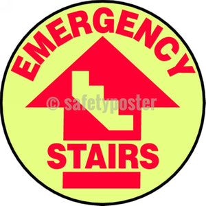 Emergency Stairs - Glow Floor Sign Adhesive Signs