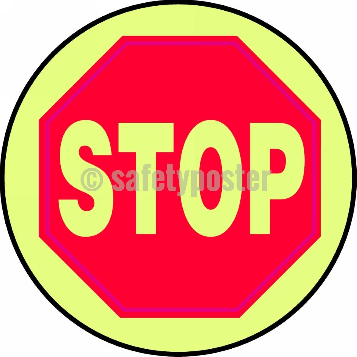 Stop - Glow Floor Sign Adhesive Signs