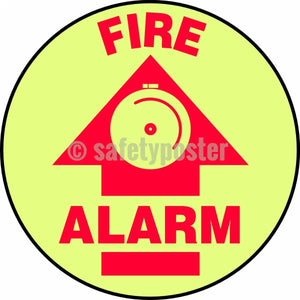 Fire Alarm - Glow Floor Sign Adhesive Signs