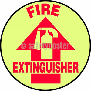 Fire Extinguisher - Glow Floor Sign Adhesive Signs