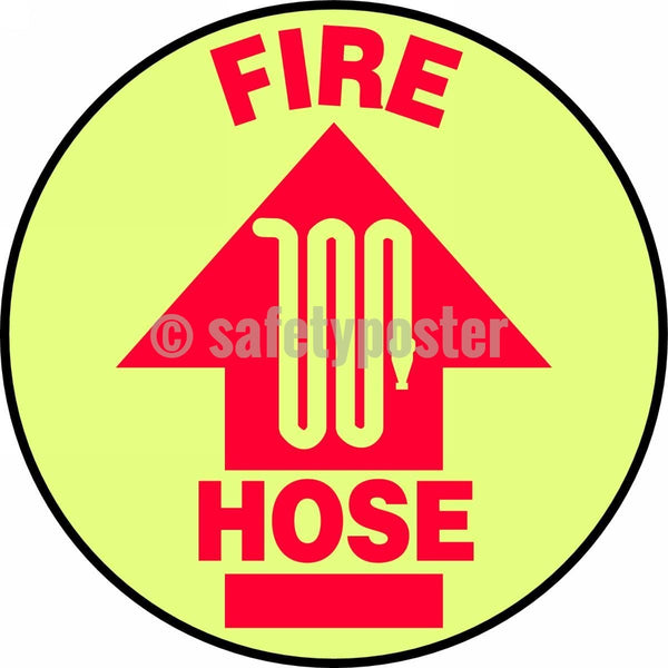 Fire Hose - Glow Floor Sign Adhesive Signs