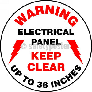 Warning Electrical Panel Keep Clear Up To Inches - Floor Sign Adhesive Signs
