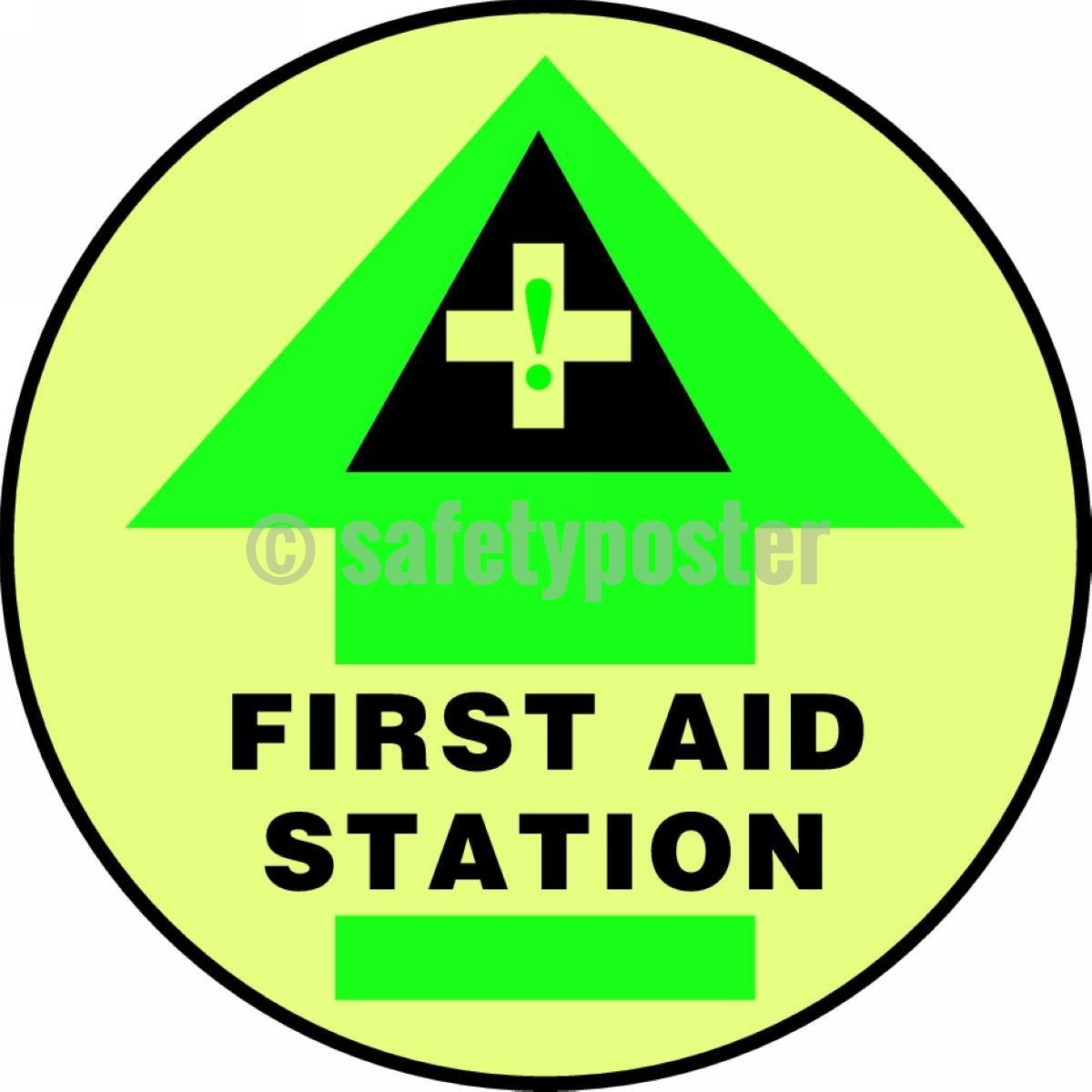 First Aid Station (Arrow) - Glow Floor Sign Adhesive Signs