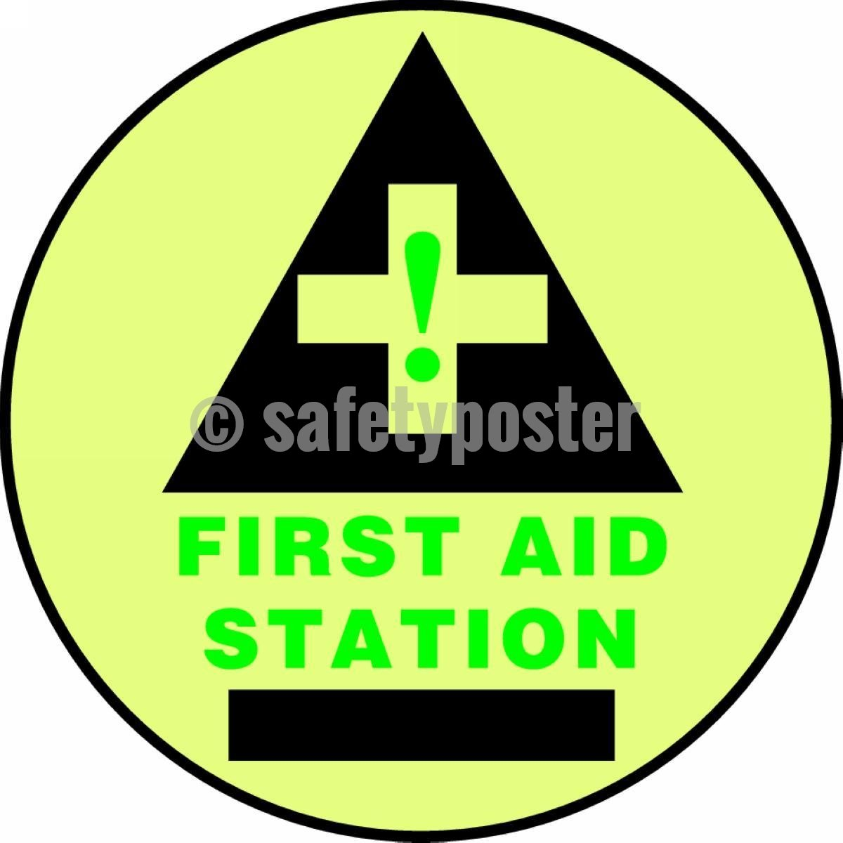 First Aid Station - Glow Floor Sign Adhesive Signs