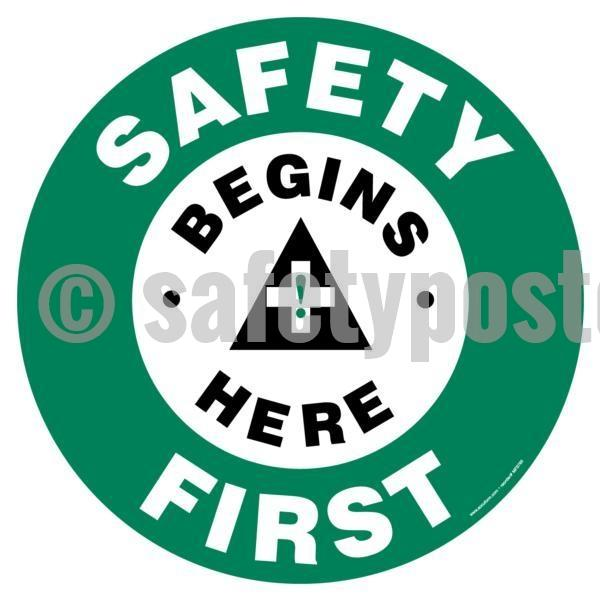 Safety Begins Here First - Floor Sign Adhesive Signs