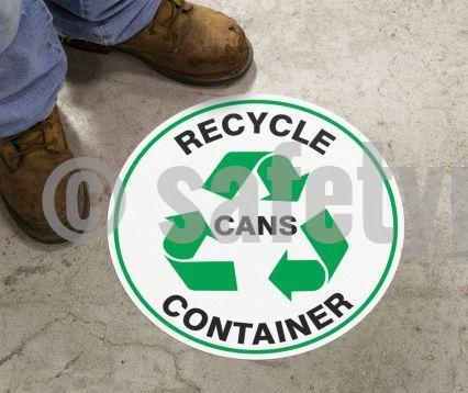 Recycle Container Cans - Floor Sign Adhesive Signs