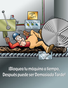 It's Too Late to Lock and Tag - Spanish Safety Poster