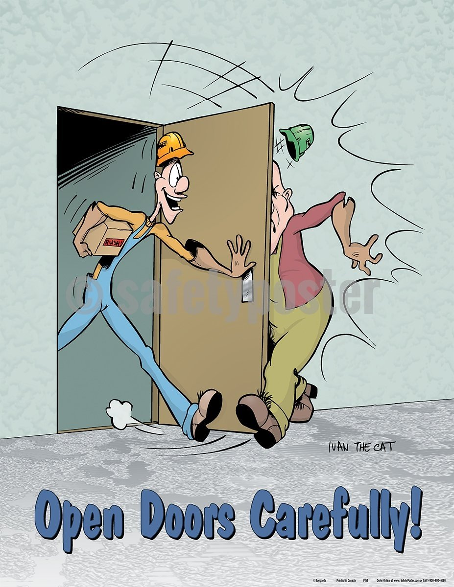 Open Doors Carefully - Safety Poster Cartoon Posters