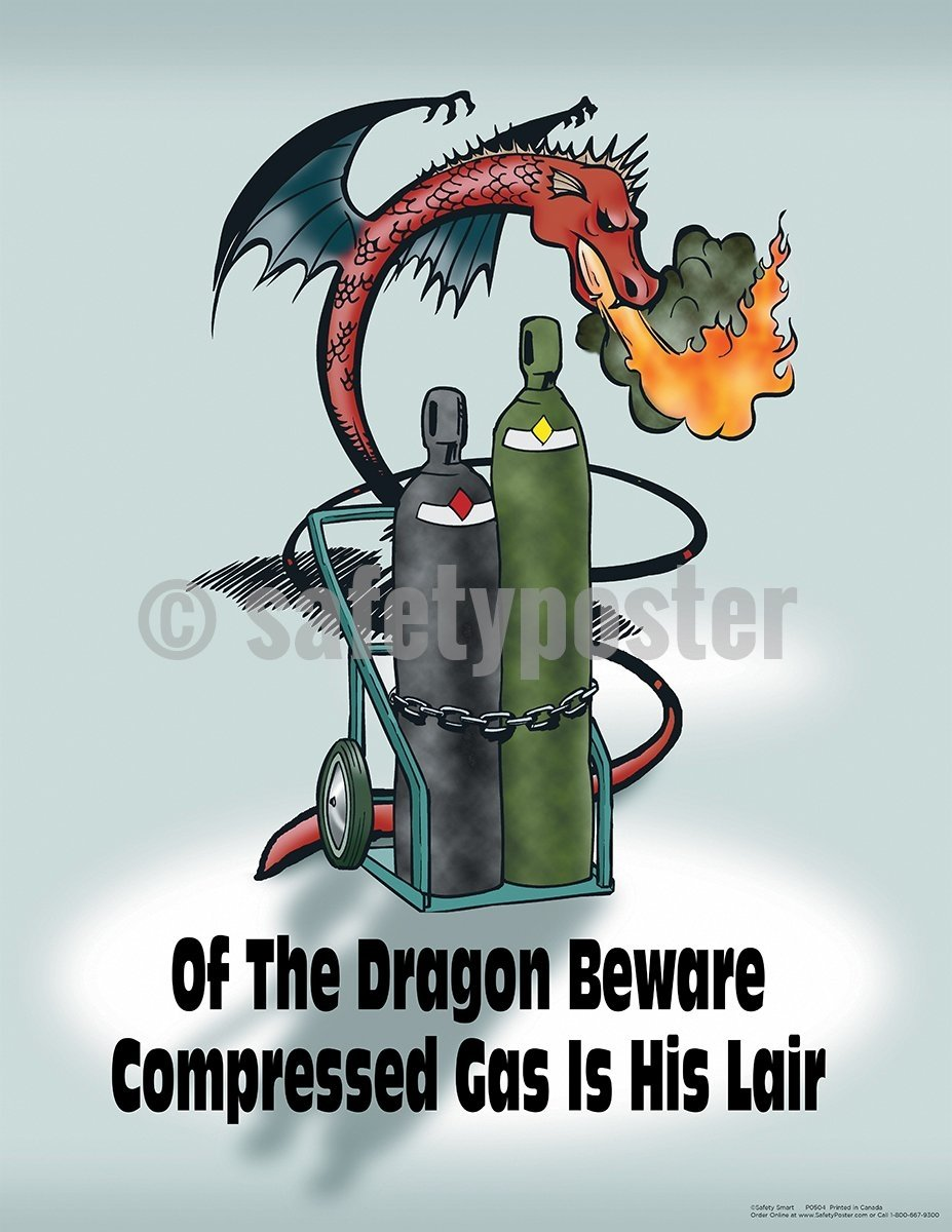 Of The Dragon Beware Compressed Gas Is His Lair - Safety Poster Construction