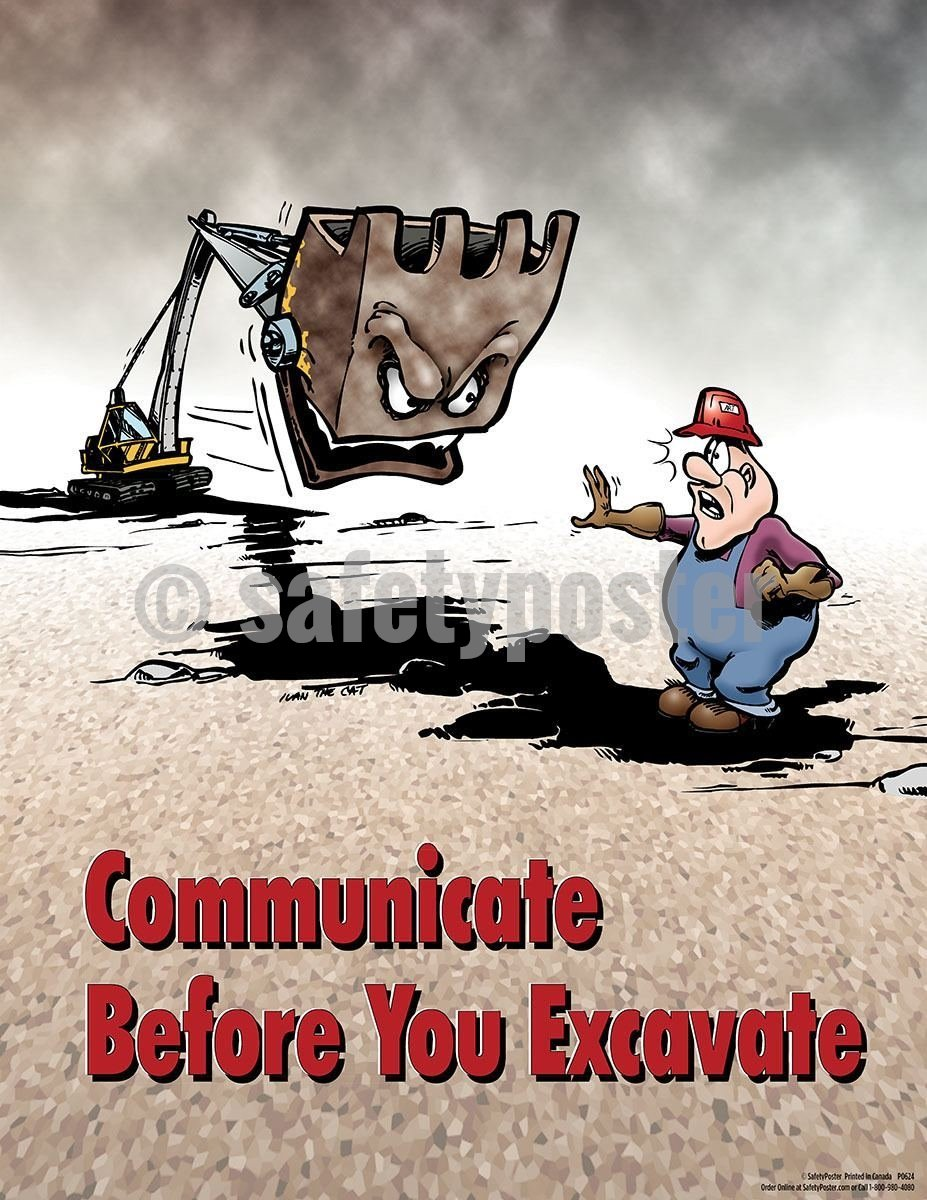 Safety Poster - Communicate Before You Excavate - safetyposter.com