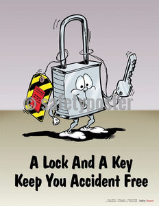 Safety Poster - A Lock And A Key Keep You Accident Free - safetyposter.com