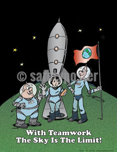 With Teamwork The Sky Is Limit - Safety Poster Cartoon Posters