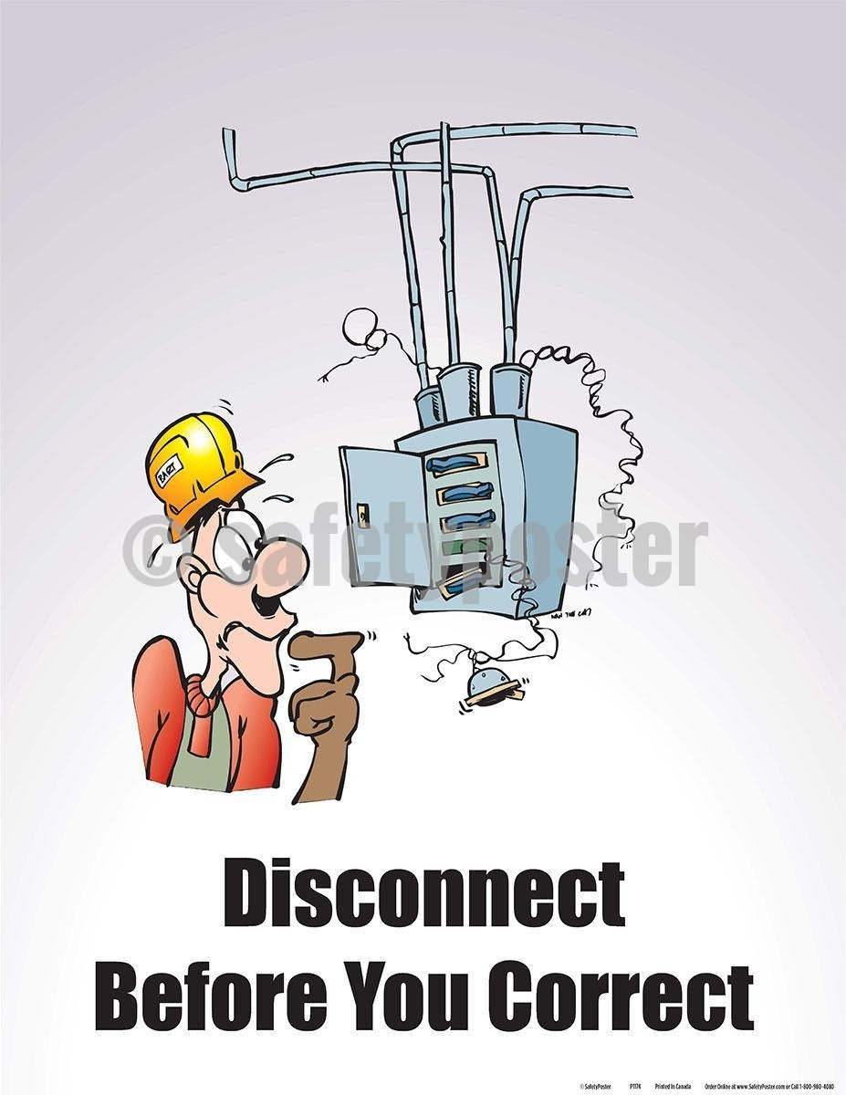 Safety Poster - Disconnect Before You Correct - safetyposter.com