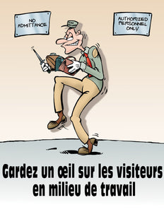 Keep An Eye On Workplace Visitors - French Safety Poster
