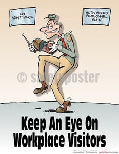 Keep An Eye On Workplace Visitors - Safety Poster Cartoon Posters