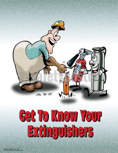 Know Your Extinguishers - Safety Poster Cartoon Posters General