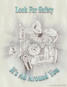 Look For Safety Its All Around You - Poster Cartoon Posters