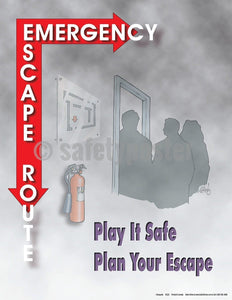 Safety Poster - Emergency Escape Route - safetyposter.com