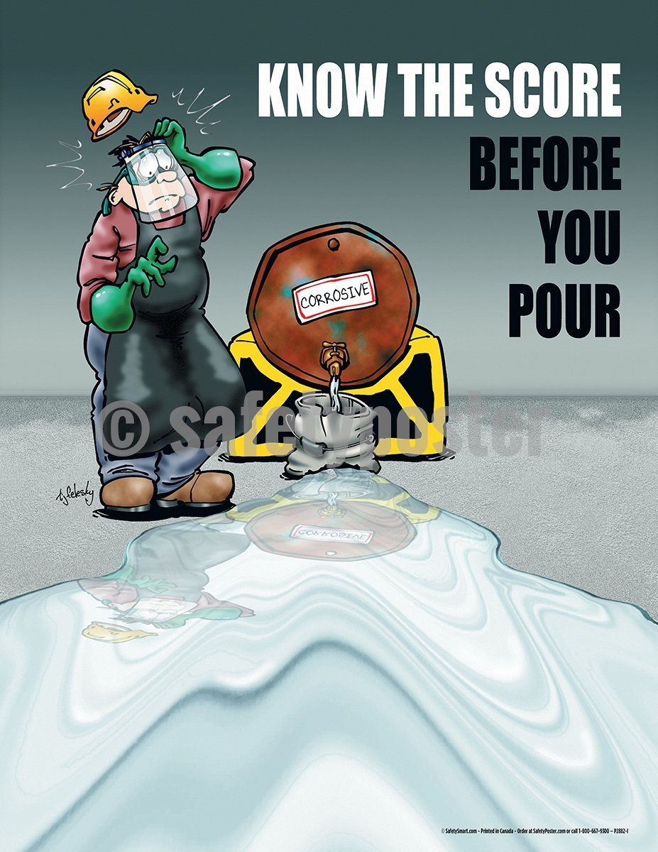 Know The Score Before You Pour - Safety Poster Cartoon Posters Personal Protective Equipment