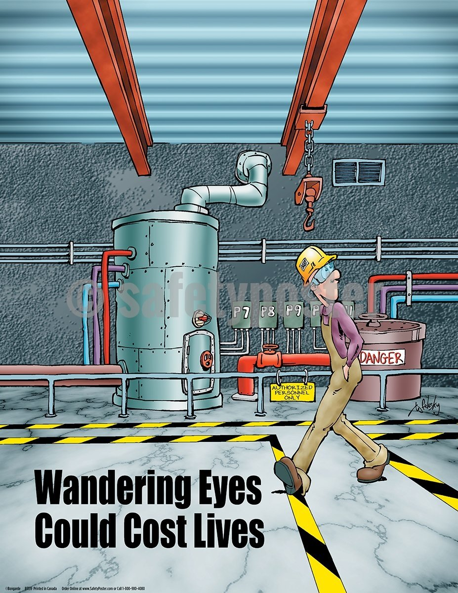 Wandering Eyes Could Cost Lives - Safety Poster Cartoon Posters