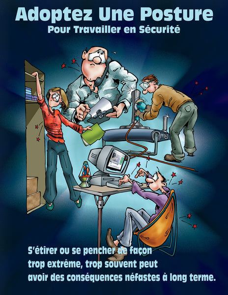 Position Yourself To Work Safely (Cartoon) - Safety Poster
