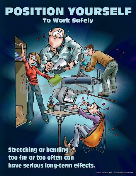 Position Yourself To Work Safely (Cartoon) - Safety Poster Cartoon Posters General