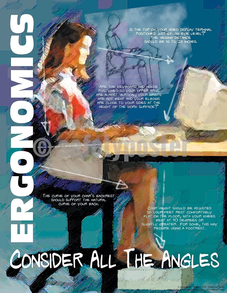 Ergonomics Consider All The Angles - Safety Poster Cartoon Posters General