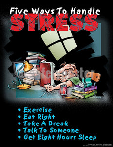 Five Ways To Handle Stress - Safety Poster Cartoon Posters Health & Wellness