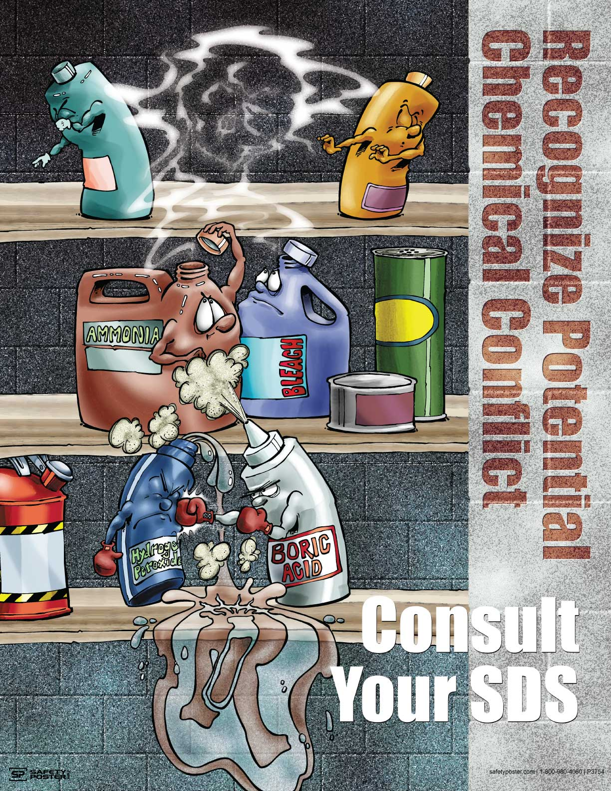 Recognize Potential Chemical Conflict - Safety Poster Cartoon Posters
